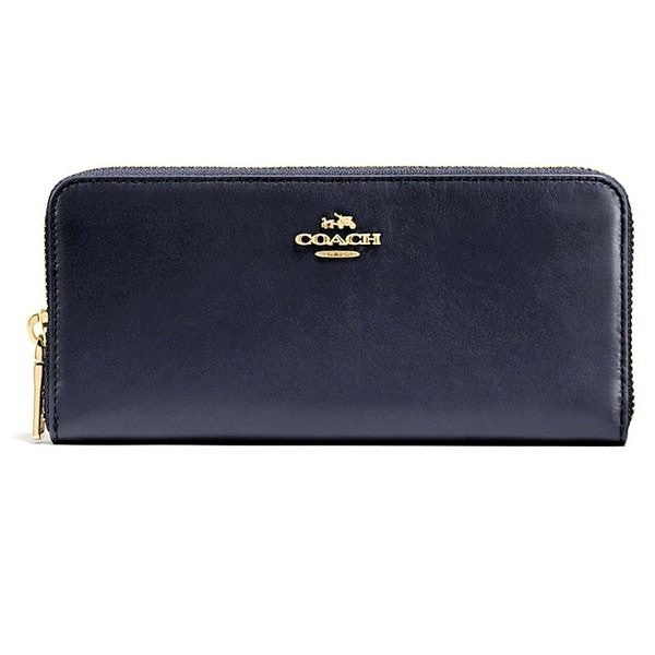 Coach Smooth Slim Accordion Clutch Wallet Black