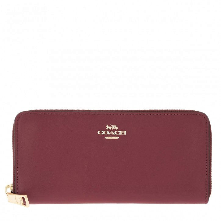 Coach Women's Smooth Leather Slim Accordion Clutch Wallet Deep Red