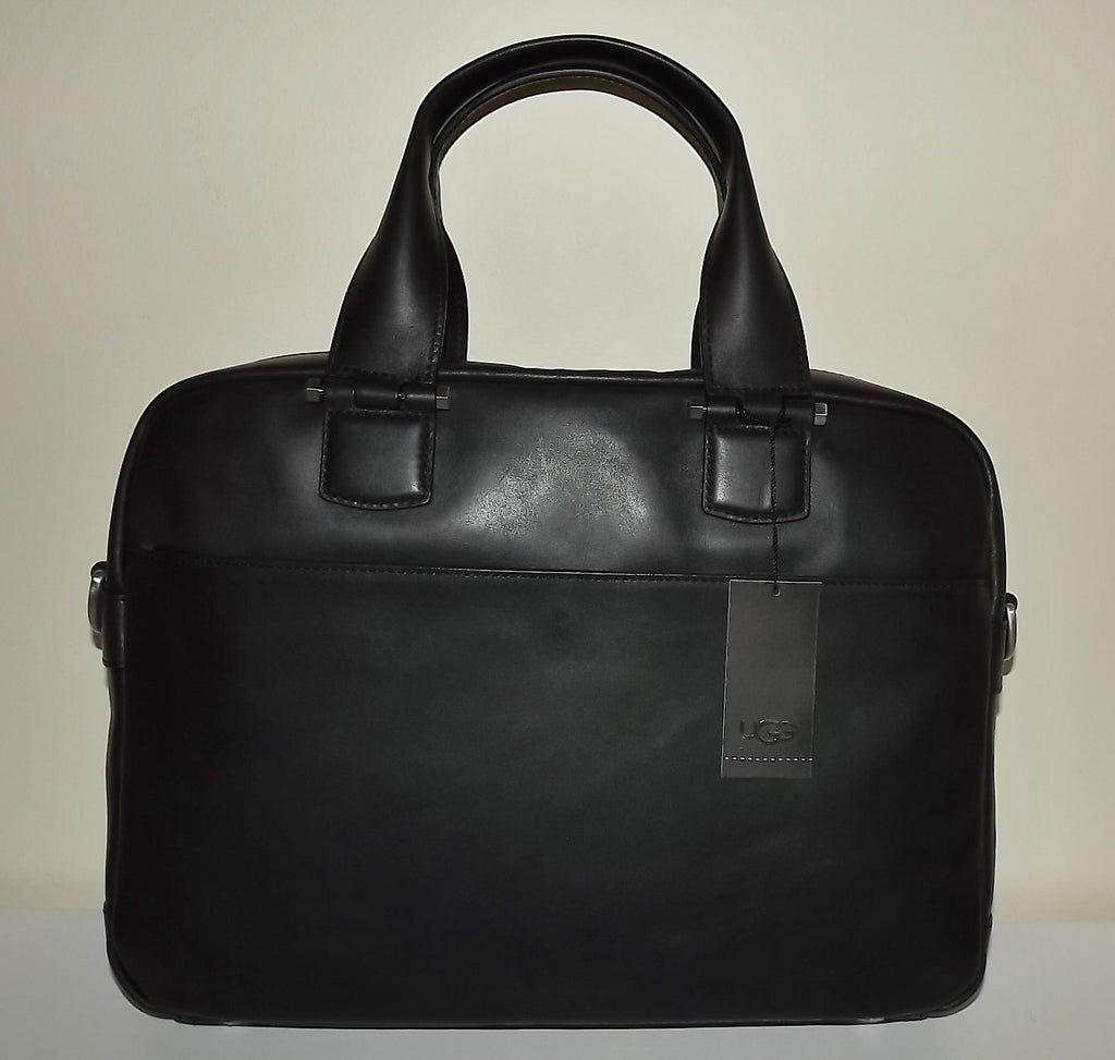 UGG Australia Leather Branford Slim Laptop Brief Bag Black