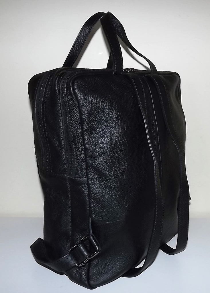 Firenze Italia Pebbled Tuscan Leather Laptop Backpack Tote Black