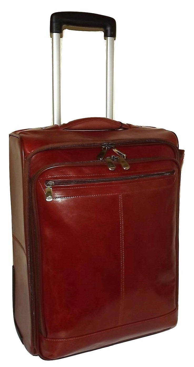 "Mancini Leather 20"" Wheeled Laptop Luggage Cognac"