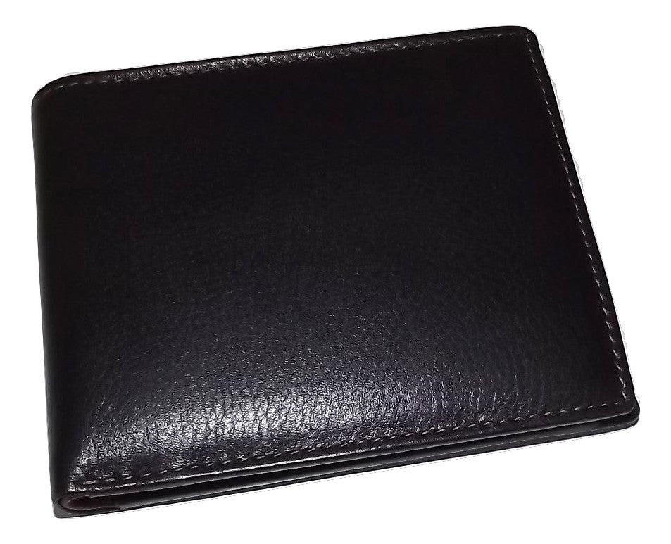 Italia Leather Men's RFID Protected Bifold Wallet with Change Pocket Black/Brown
