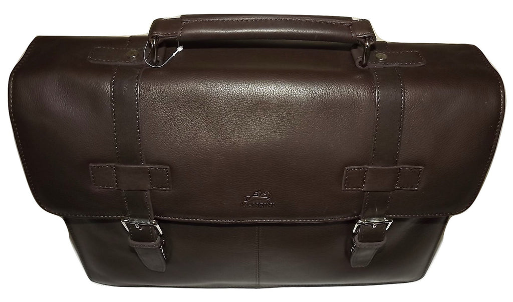 Mancini Leather Front Flap Dual Compartment Laptop & Tablet Briefcase Brown