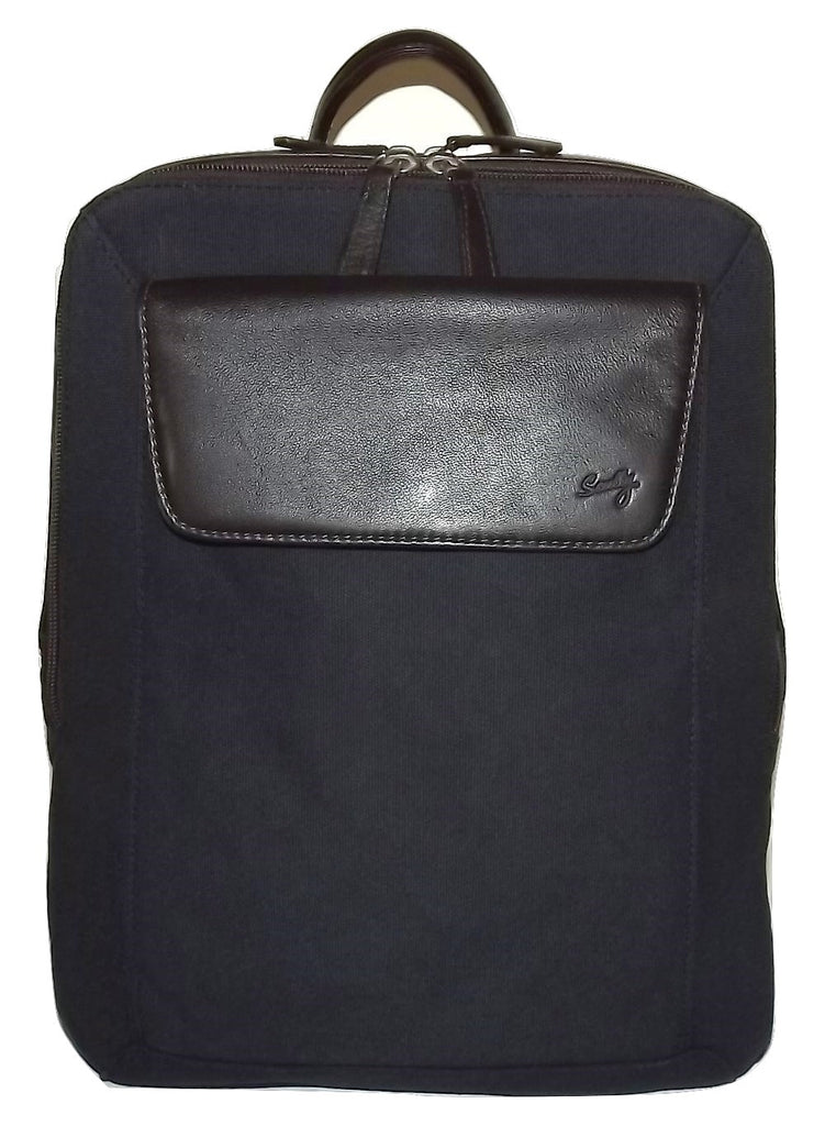 Scully Flint Canvas & Leather Laptop Backpack Navy
