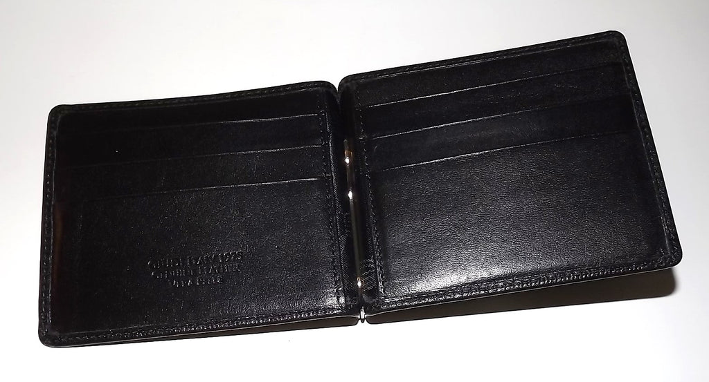 Giudi Italia Bifold 6 Pocket Money Clip Wallet Black