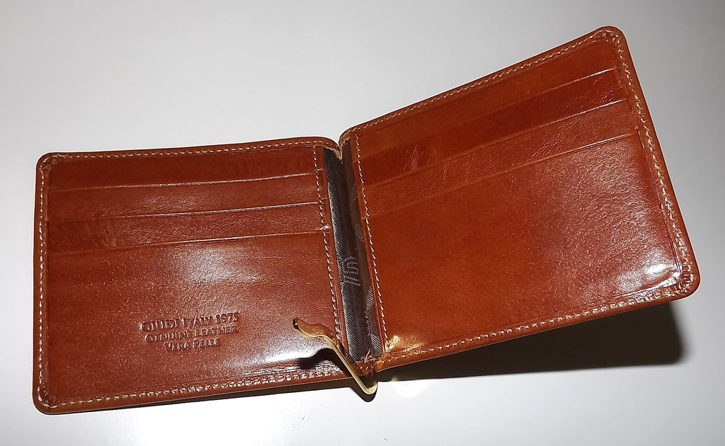 Giudi Italia Bifold 6 Pocket Money Clip Wallet Cognac