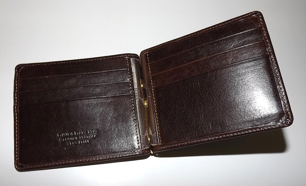 Giudi Italia Bifold 6 Pocket Money Clip Wallet Brown