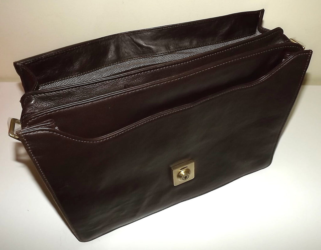 Scully Hidesign Derrick Leather Double Gusset Laptop Briefcase