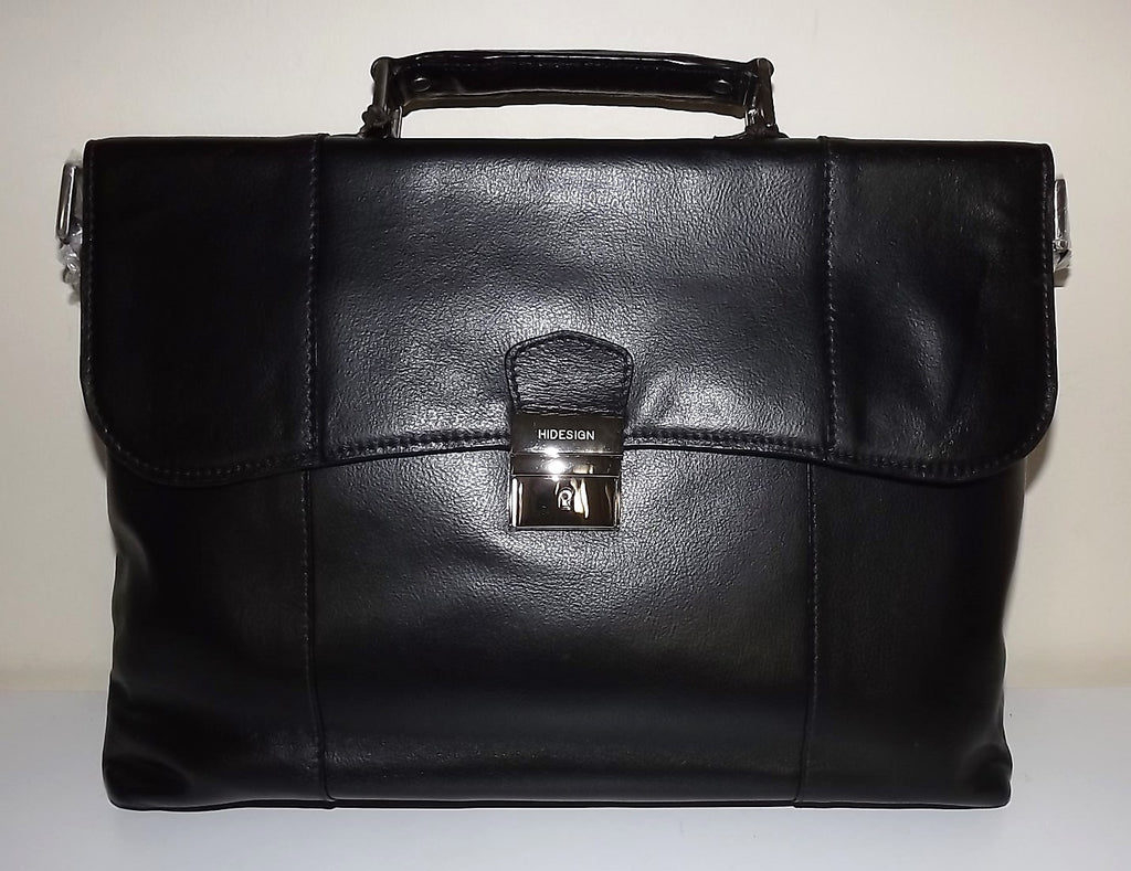 Scully Hidesign Leather Corporate Slim Brief Bag with Strap Black