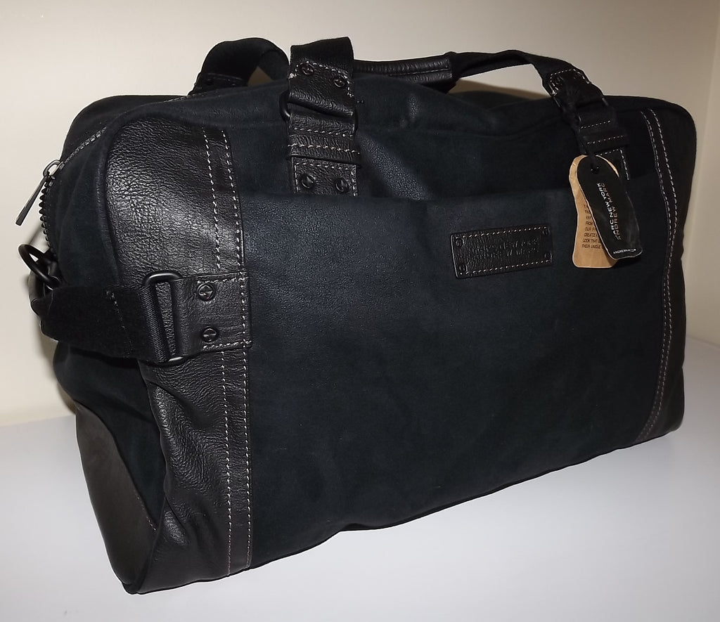 "Andrew Marc NY Lindburgh 18"" Carry-on Canvas & Leather Duffel Luggage Black"