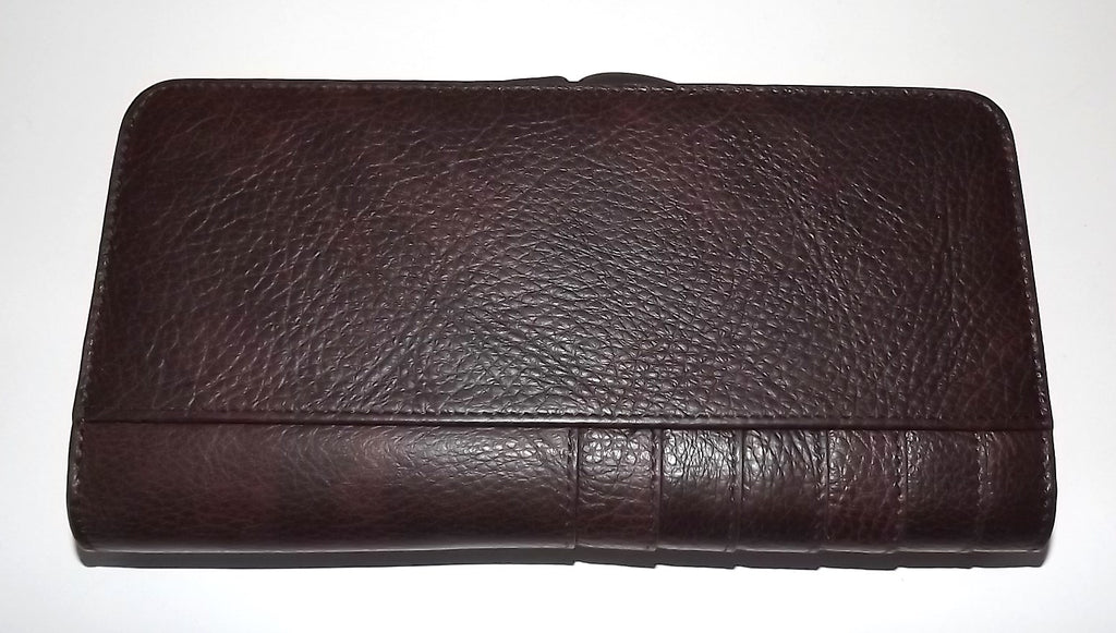 Italia Leather Clutch Wallet Brown Solid
