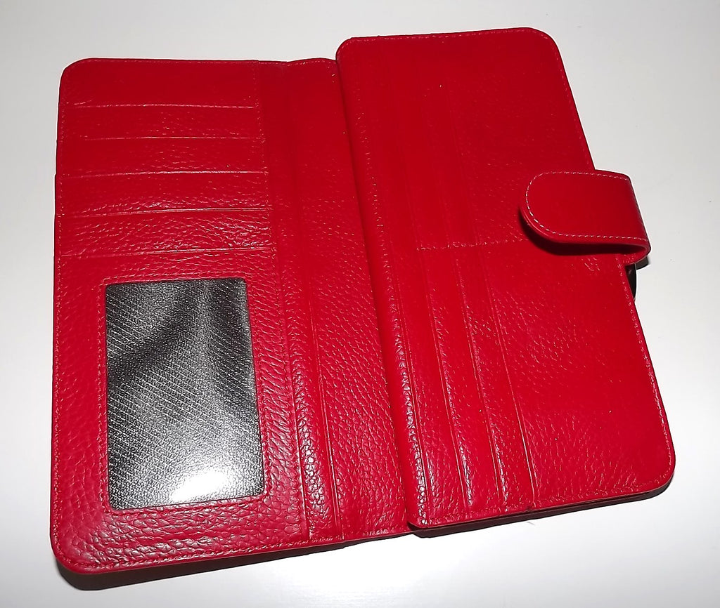Italia Leather Clutch Wallet Red Multi