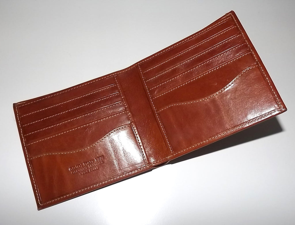 Giudi Italia Leather Bifold 10 Pocket Wallet Cognac