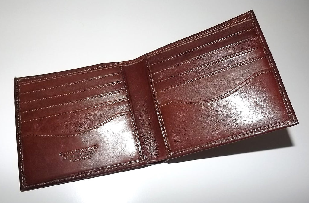 Giudi Italia Leather Bifold 10 Pocket Wallet Maroon