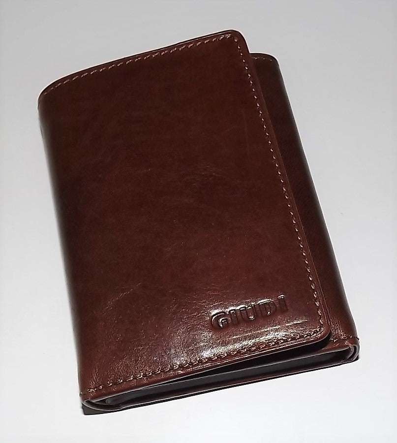 Giudi Italian Leather Trifold Wallet Maroon