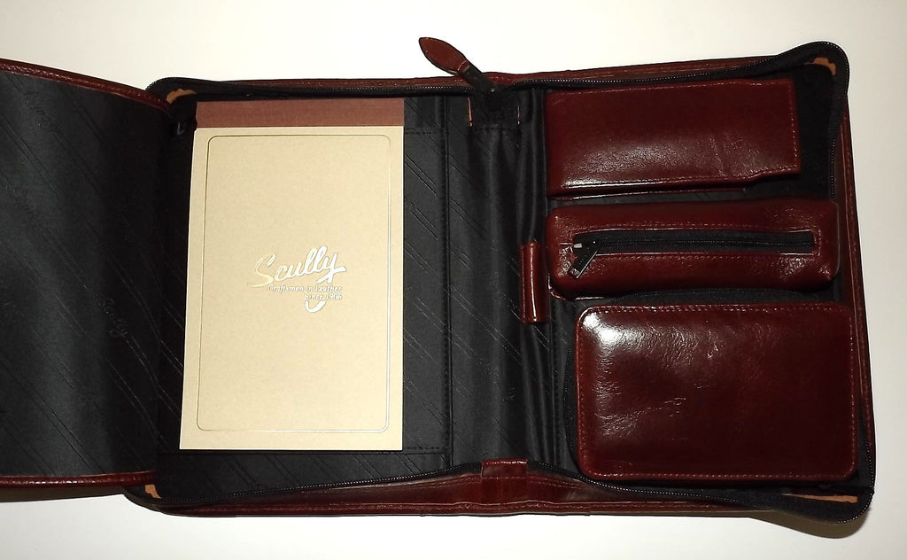 Scully Leather Zippered Trifold Business Organizer with Writing Pad Mahogany