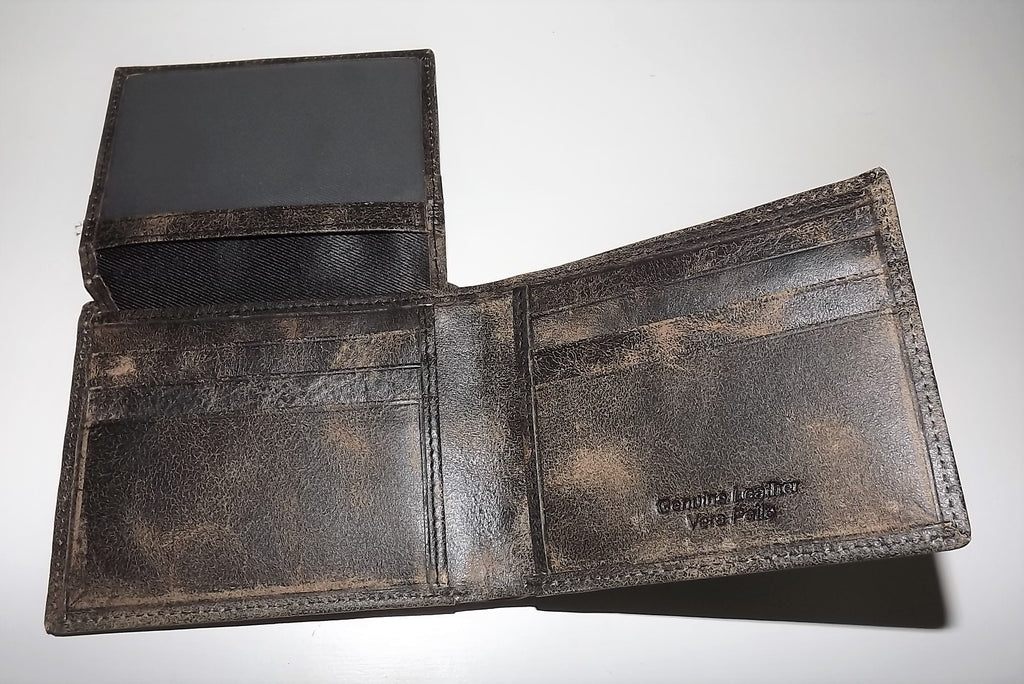 Baglioni Italia Vintage Leather Bifold Passcase Wallet Black