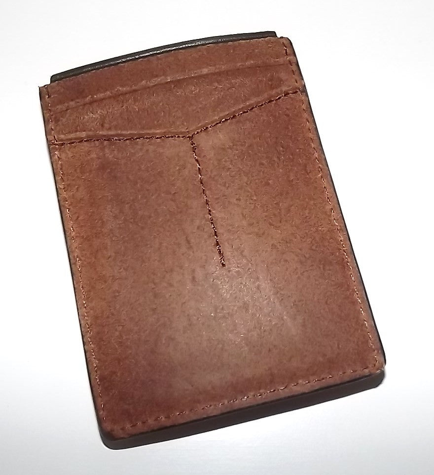 Fossil Men's Leather Max Mag Front Pocket Money Clip Wallet Tan/Green