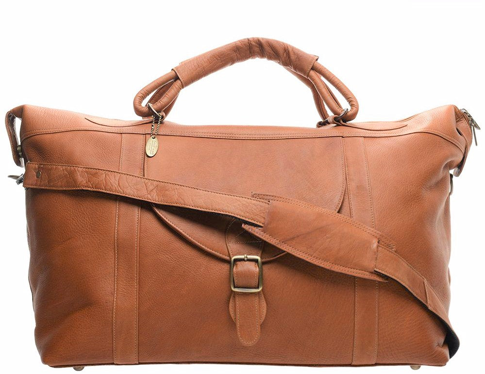 "David King 25"" Top Zip Weekender Duffel Bag Cognac"