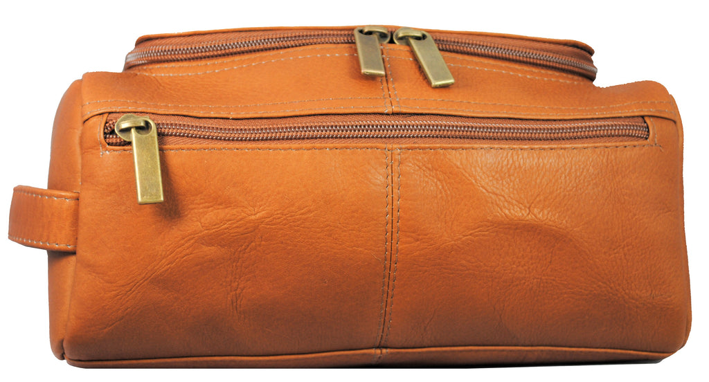 David King Leather U-Zip Shave Kit Cognac