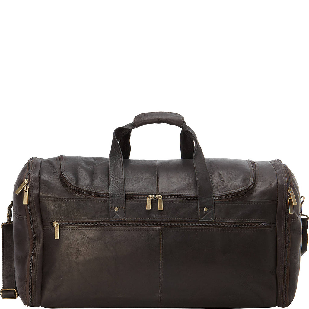 "David King Colombian Leather 22"" Carry-on Duffel Chocolate"