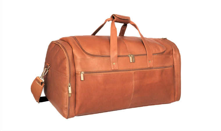 "David King Colombian Leather 22"" Multi-Pocket Carry-on Duffel Bag"
