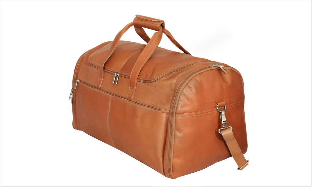 "David King Colombian Leather 22"" Carry-on Duffel Cognac"