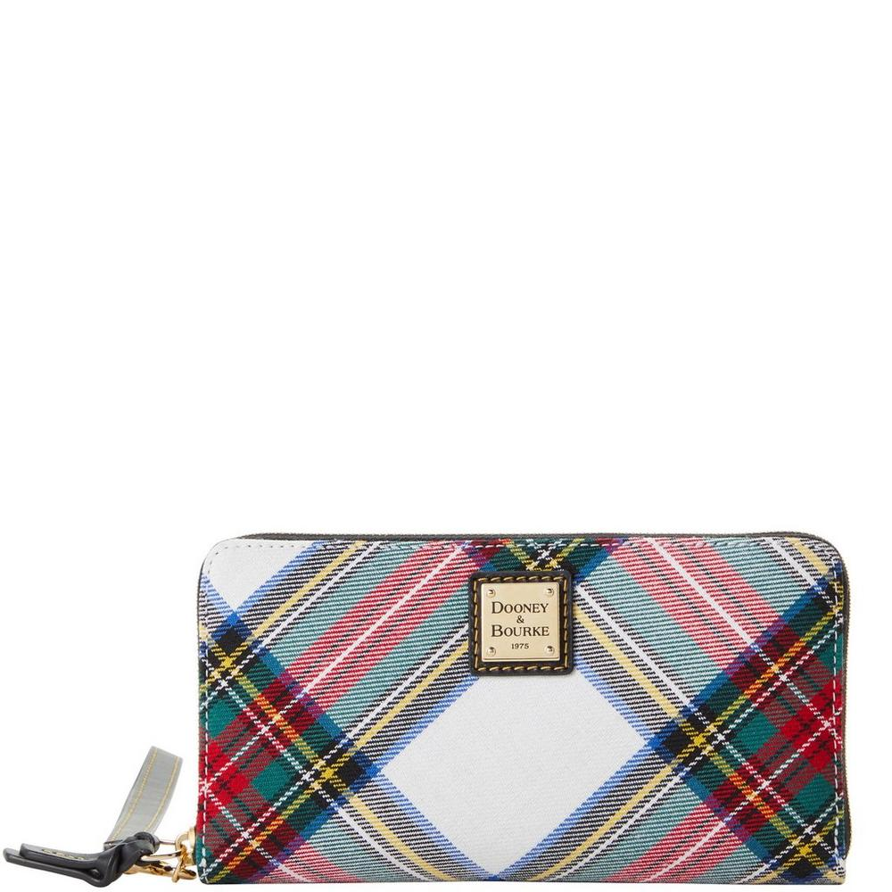 Dooney & Bourke Blakely Tartan Large Zip Around Wristlet Wallet Multi