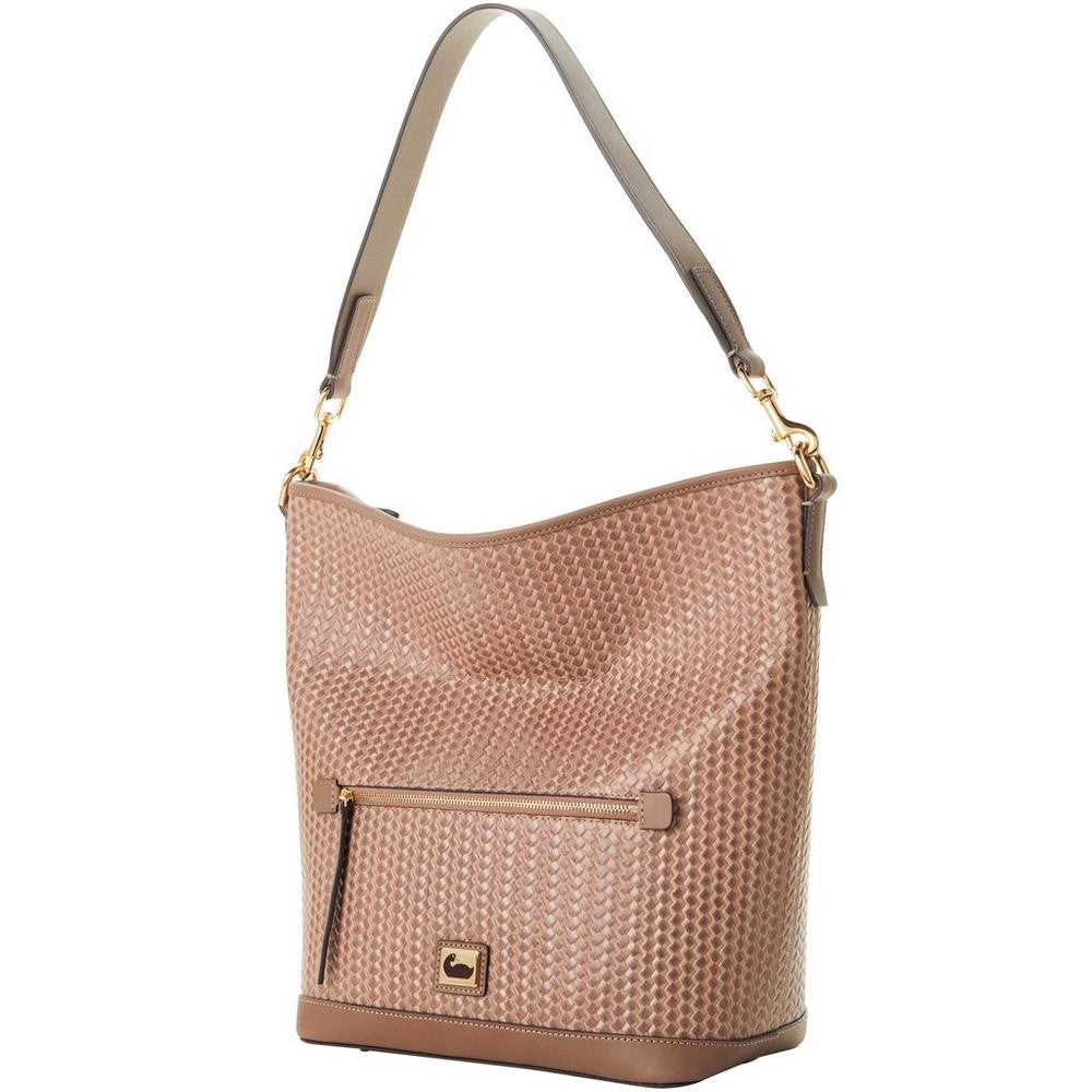 Dooney & Bourke Camden Woven Leather Hobo Putty