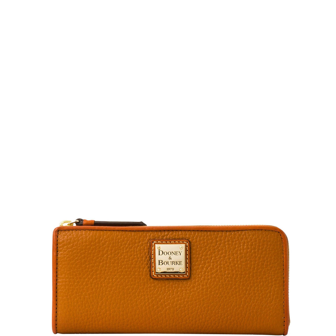Dooney & Bourke Pebble Grain L Zip Wallet Caramel