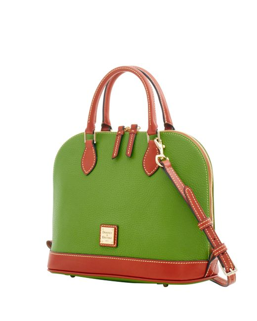 Dooney & Bourke Pebble Grain Zip Zip Satchel Grass