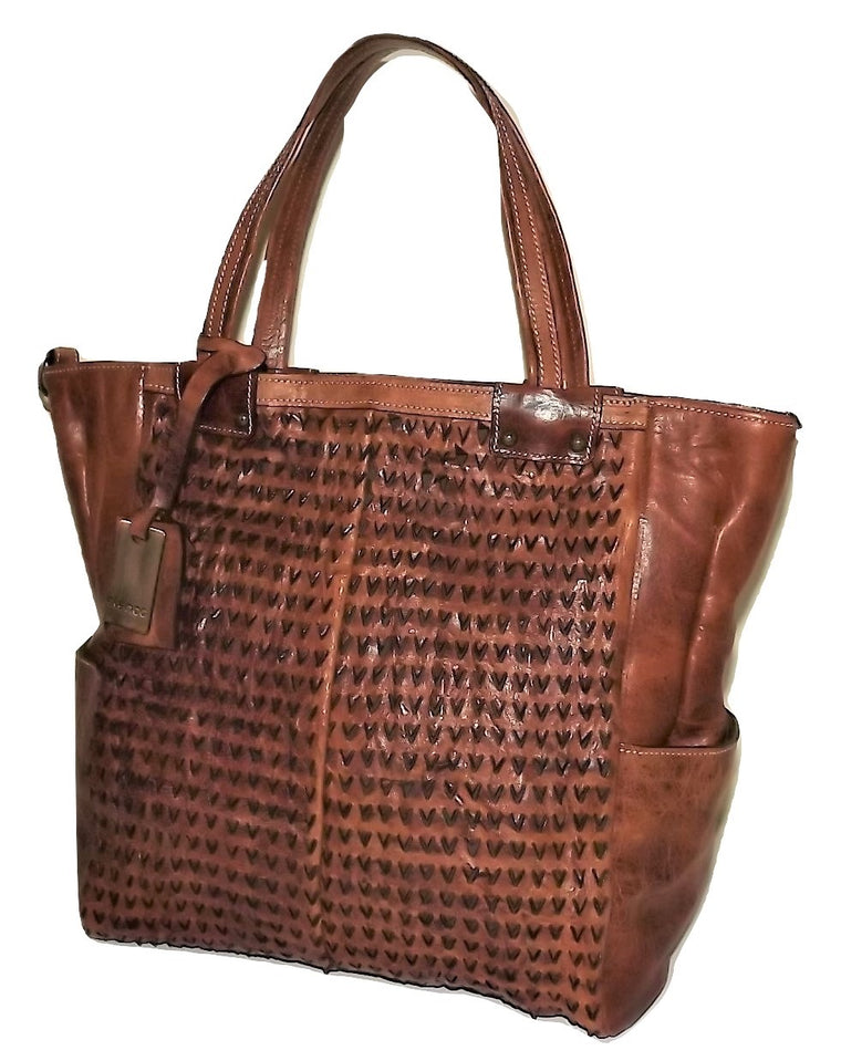 Elenco Aveiro Top Zip Tote Crossbody Bag Cognac