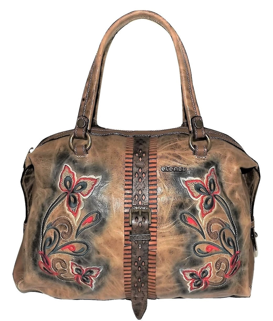 Elenco Lisbon Embroidered Satchel Handbag Umber