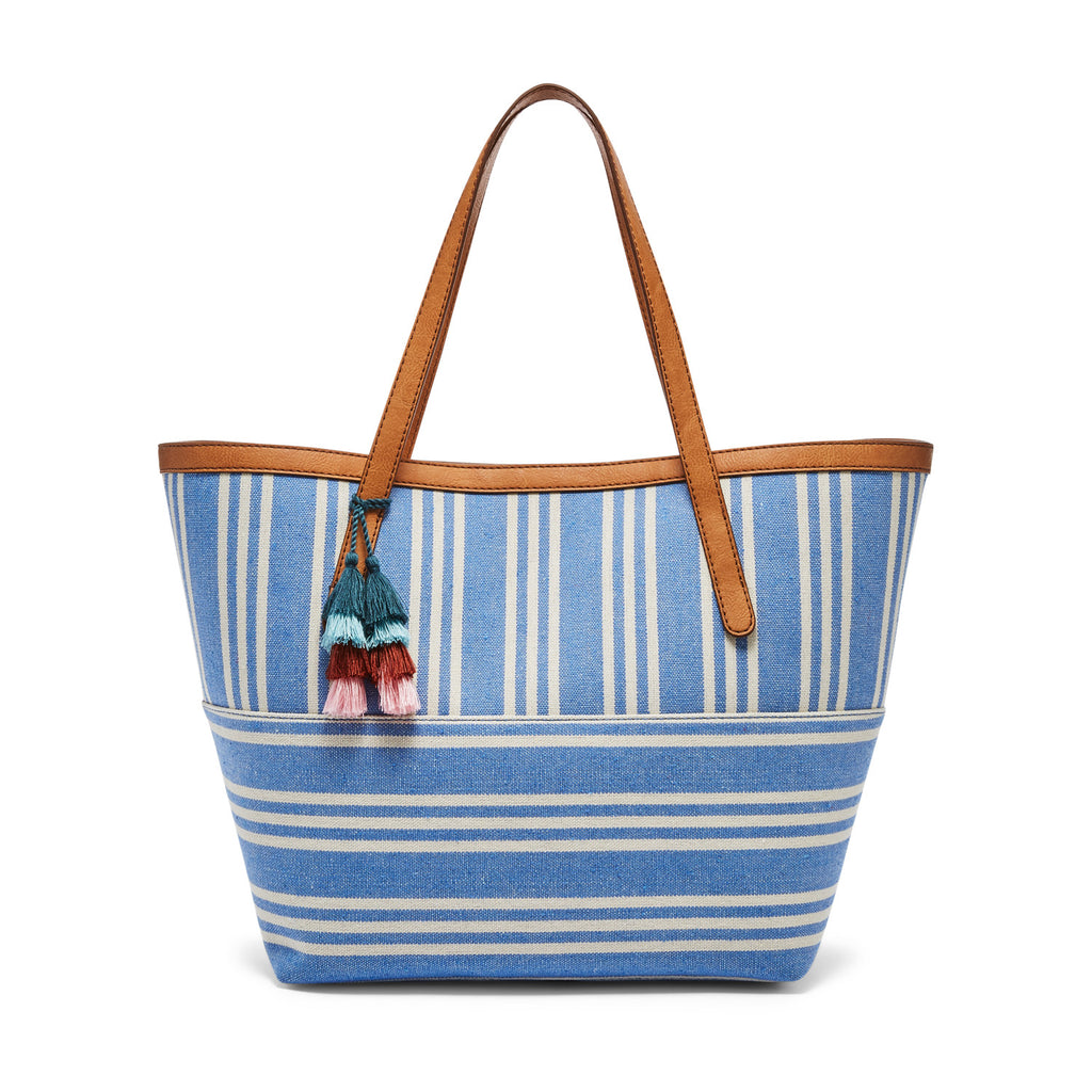 Fossil Jeanne Beach Tote Blue/White Denim