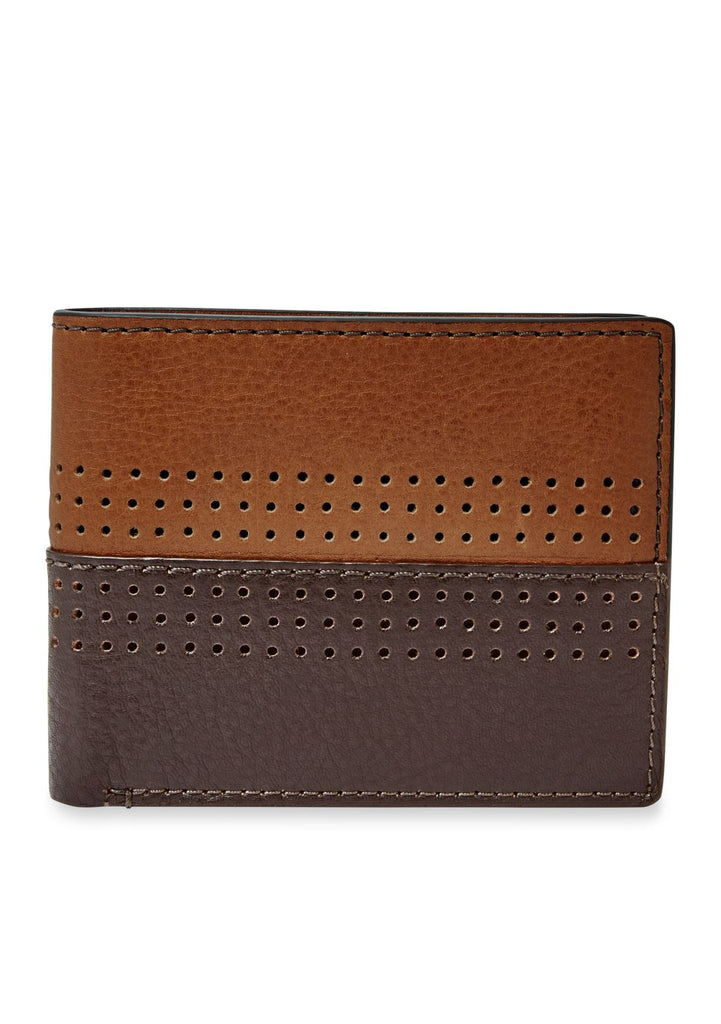 Fossil Men's Leather Cody Bifold Flip ID Traveler Wallet Brown