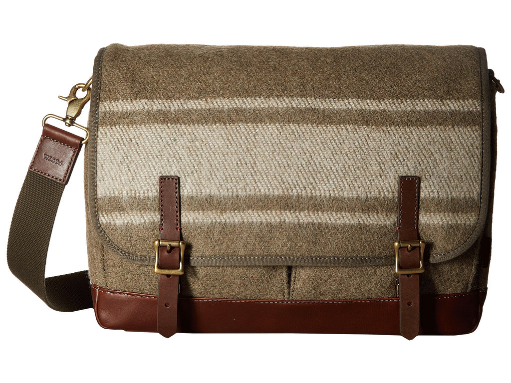 Fossil Defender Laptop Messenger Brief Bag Olive