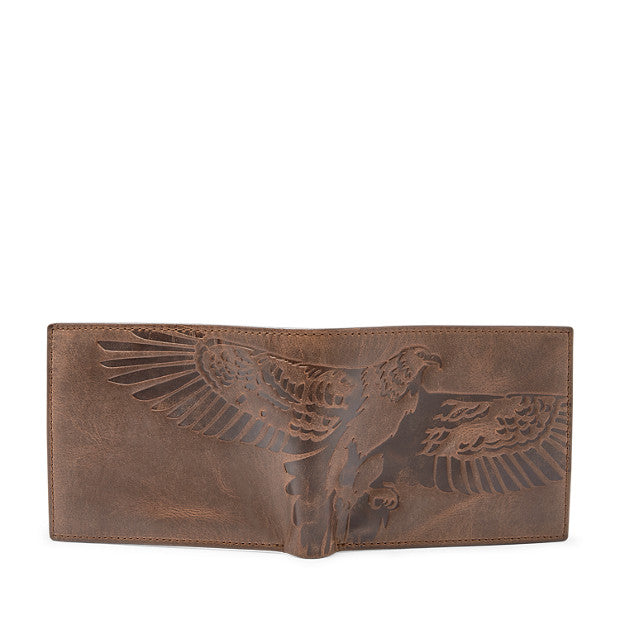 Fossil Men's Leather Eagle Bifold 8 Pocket Wallet Brown