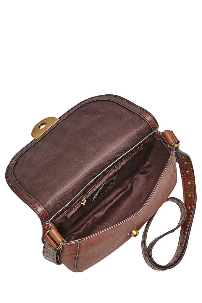 Fossil Women's Leather Emi Saddle Crossbody Shoulder Bag Brown Multi