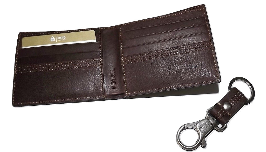 Fossil Kyle RFID Bifold Wallet with Key Fob Brown