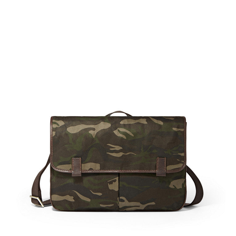 Fossil Mercer East/West Canvas & Leather Laptop Messenger Brief Bag Camo