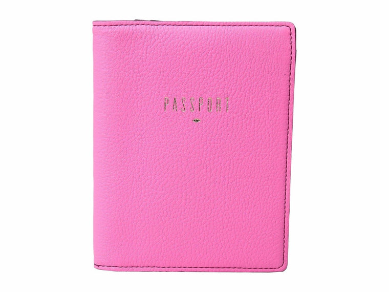 Fossil Leather RFID Blocking Passport Travel Wallet Neon Pink