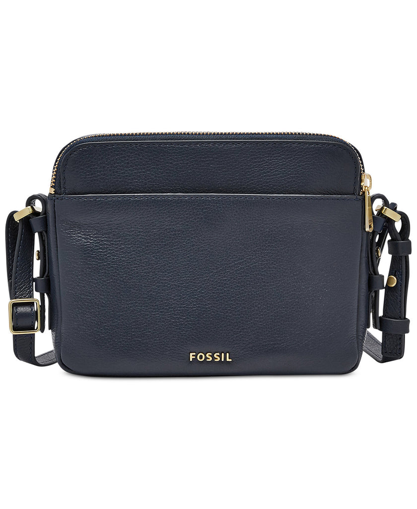 Fossil Women's Leather Piper Gem Toaster Crossbody Shoulder Bag Midnight Navy