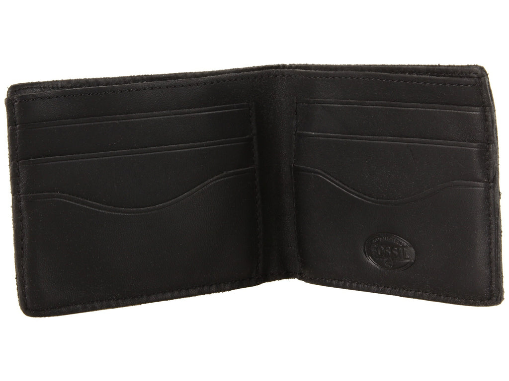 Fossil Men's Riverton Leather Bifold Credit Card Wallet Black