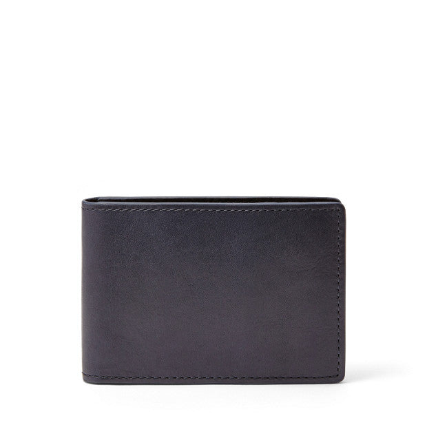 Fossil Men's Leather Truman Bifold Money Clip ID Wallet Navy