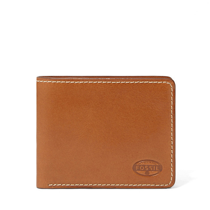 Fossil Men's Leather Vaughn Bifold Credit Card Wallet Brown