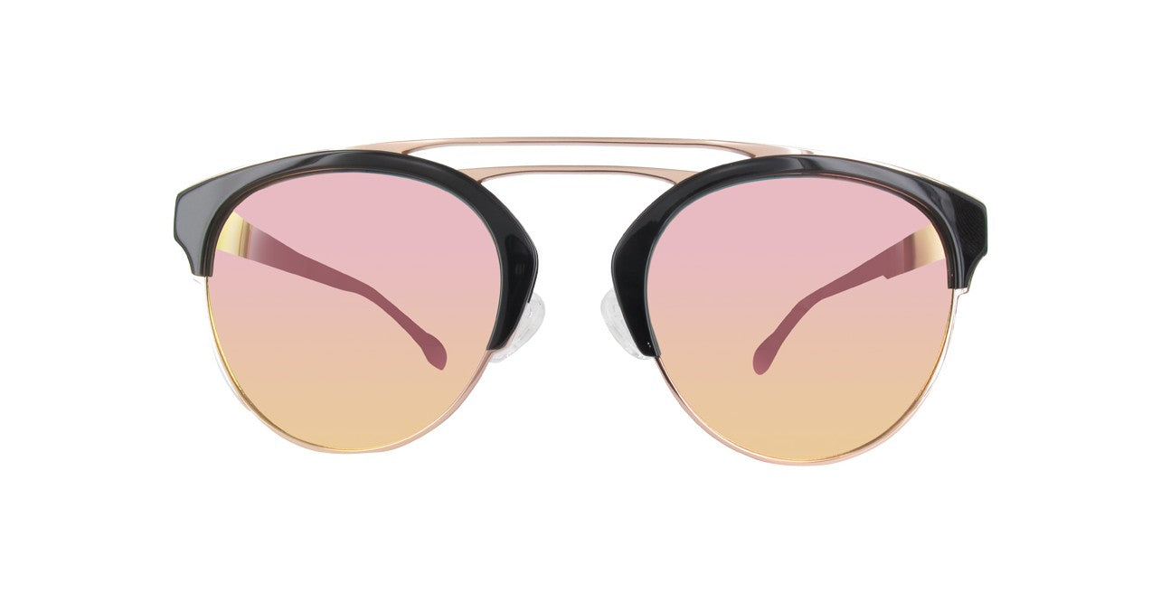 692f18849c GF Ferre Women s Round Sunglasses Pink Gold Lens with Black Gold ...