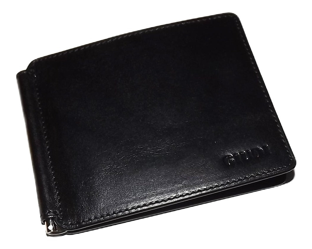 Giudi Italia L Fold Money Clip Wallet Black