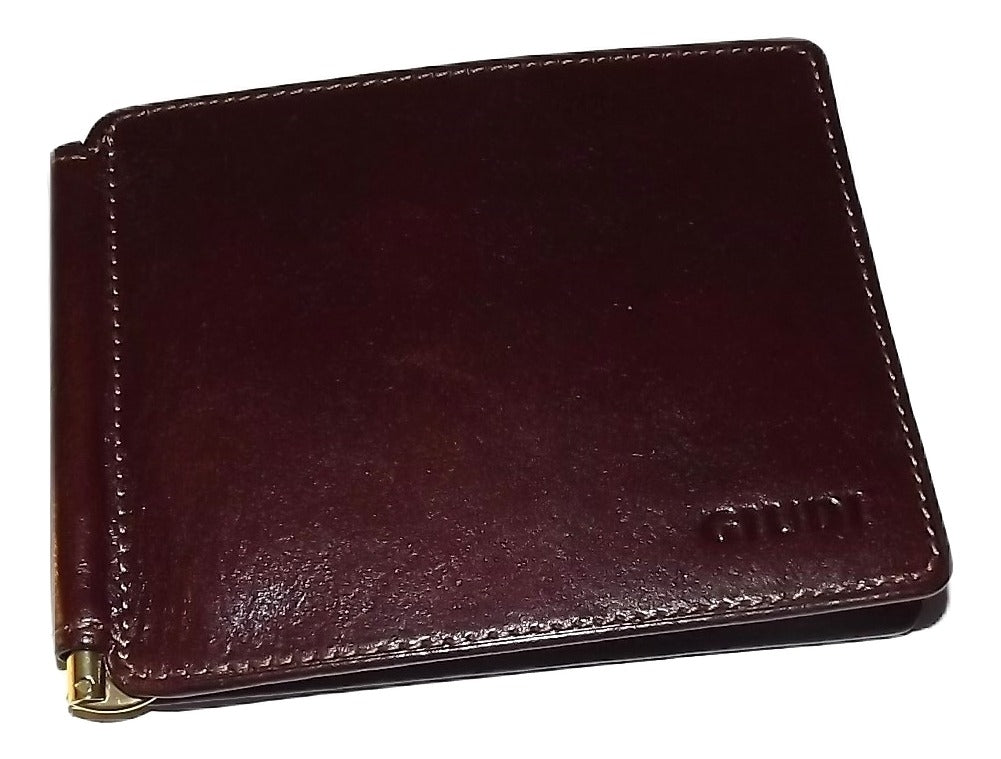 Giudi Italia Bifold 6 Pocket Money Clip Wallet Maroon