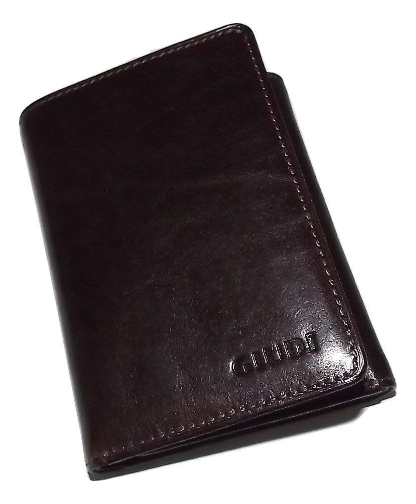 Giudi Italian Leather Trifold Wallet Brown