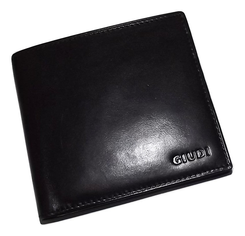 Giudi Italia Leather Bifold 10 Pocket Wallet Black